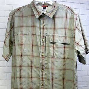 The North Face Green Plaid Button Front shirt Size